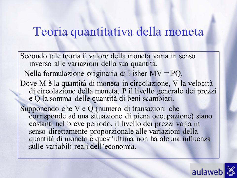 Teoria quantitativa della moneta Secondo tale teoria il valore della moneta varia in senso inverso alle variazioni della sua quantità. Nella formulazi