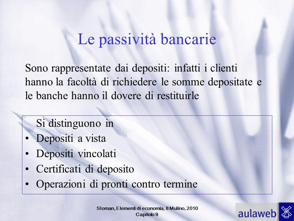 Sloman, Elementi di economia, Il Mulino, 2010 Capitolo 9 Le passività bancarie Si distinguono in Depositi a vista Depositi vincolati Certificati di de