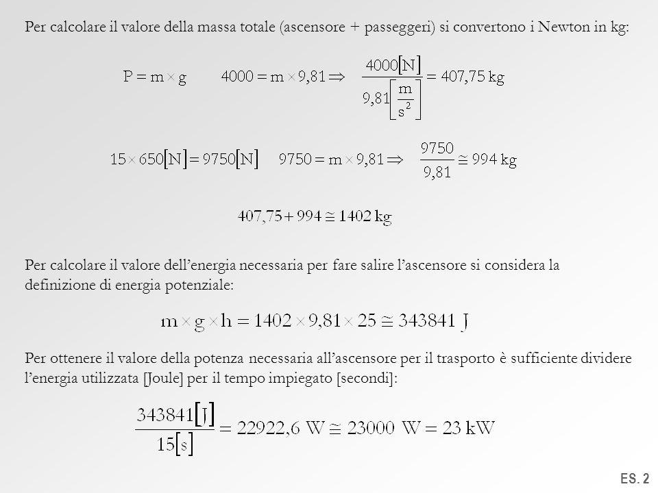 Per calcolare il valore della massa totale (ascensore + passeggeri) si convertono i Newton in kg: ES. 2 Per calcolare il valore dellenergia necessaria