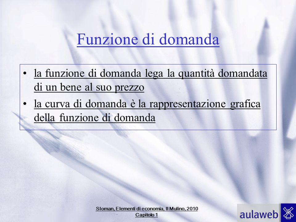 Funzione di domanda la funzione di domanda lega la quantità domandata di un bene al suo prezzo la curva di domanda è la rappresentazione grafica della