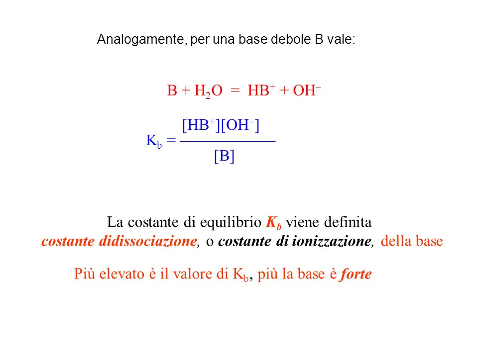 B + H 2 O = HB + + OH – [HB + ][OH – ] K b = [B] La costante di equilibrio K b viene definita costante didissociazione, o costante di ionizzazione, de