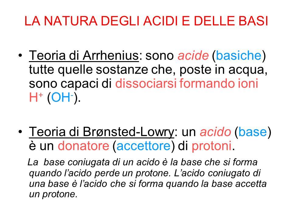 LA NATURA DEGLI ACIDI E DELLE BASI Teoria di Arrhenius: sono acide (basiche) tutte quelle sostanze che, poste in acqua, sono capaci di dissociarsi for