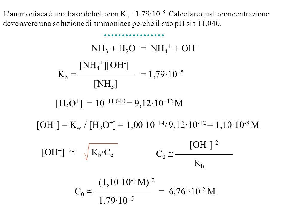 NH 3 + H 2 O = NH 4 + + OH - [NH 4 + ][OH - ] K b = = 1,79·10 –5 [NH 3 ] Lammoniaca è una base debole con K b = 1,79·10 –5. Calcolare quale concentraz
