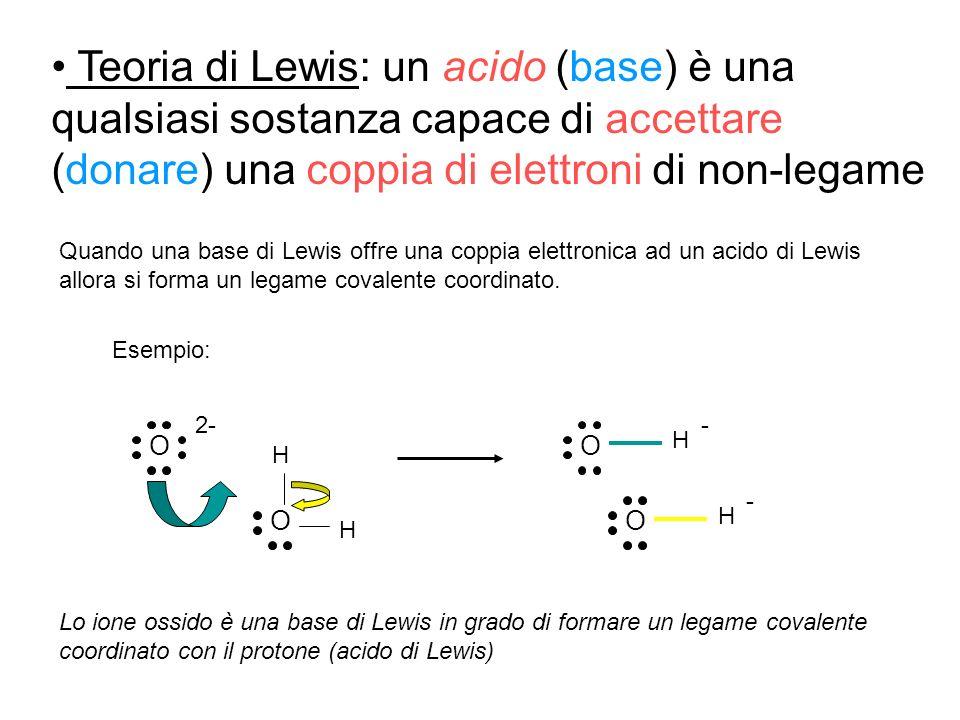 Teoria di Lewis: un acido (base) è una qualsiasi sostanza capace di accettare (donare) una coppia di elettroni di non-legame Quando una base di Lewis