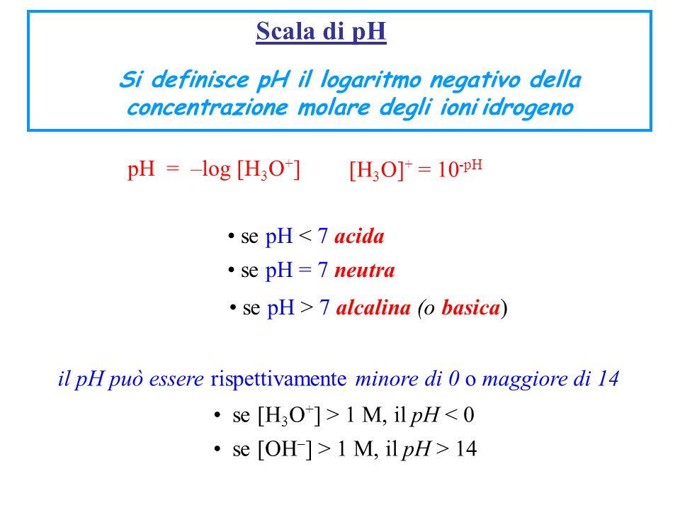 Scala di pH Si definisce pH il logaritmo negativo della concentrazione molare degli ioni idrogeno pH = –log [H 3 O + ] [H 3 O] + = 10 -pH se pH < 7 ac