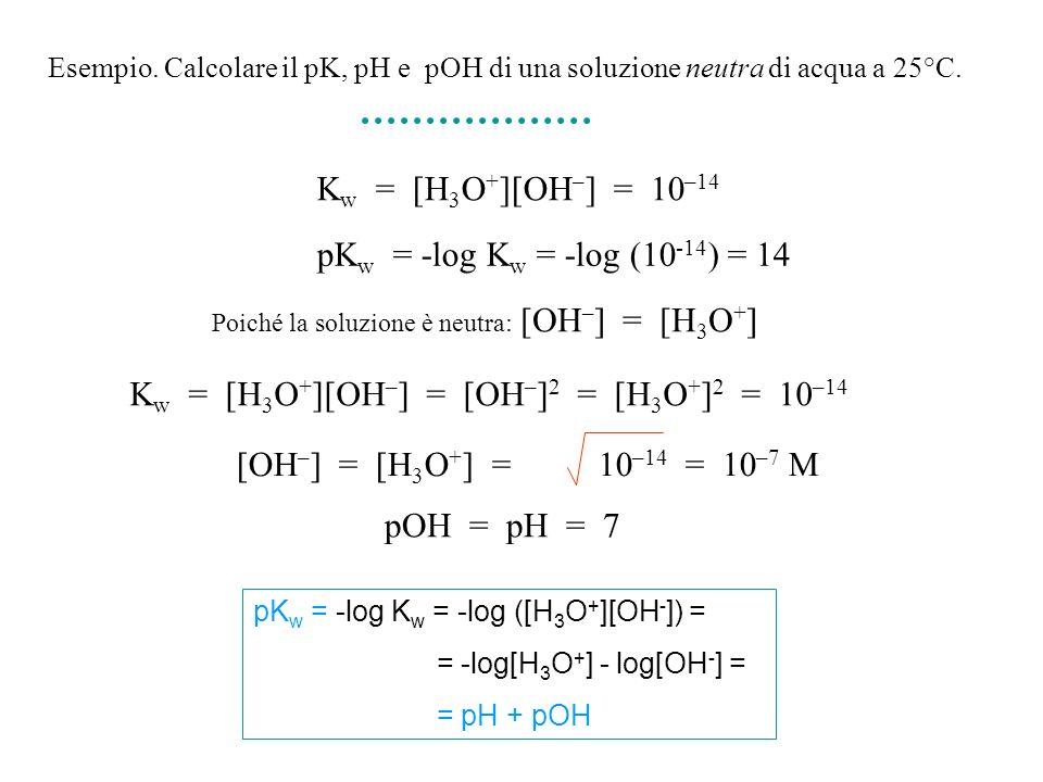 Esempio. Calcolare il pK, pH e pOH di una soluzione neutra di acqua a 25°C. K w = [H 3 O + ][OH – ] = [OH – ] 2 = [H 3 O + ] 2 = 10 –14 [OH – ] = [H 3
