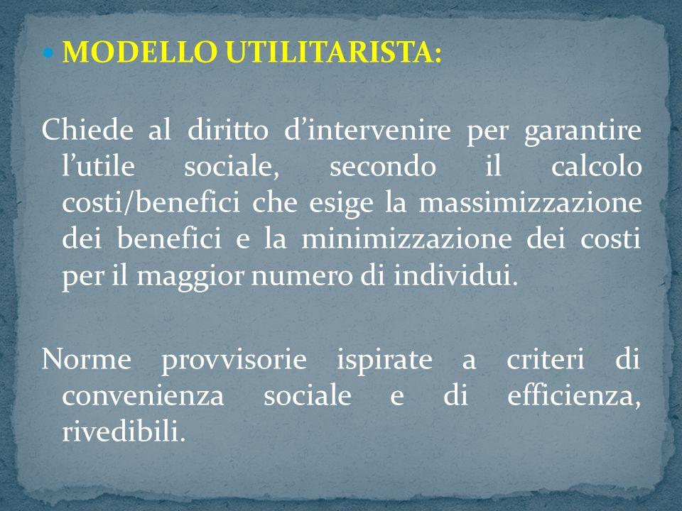 MODELLO UTILITARISTA: Chiede al diritto dintervenire per garantire lutile sociale, secondo il calcolo costi/benefici che esige la massimizzazione dei