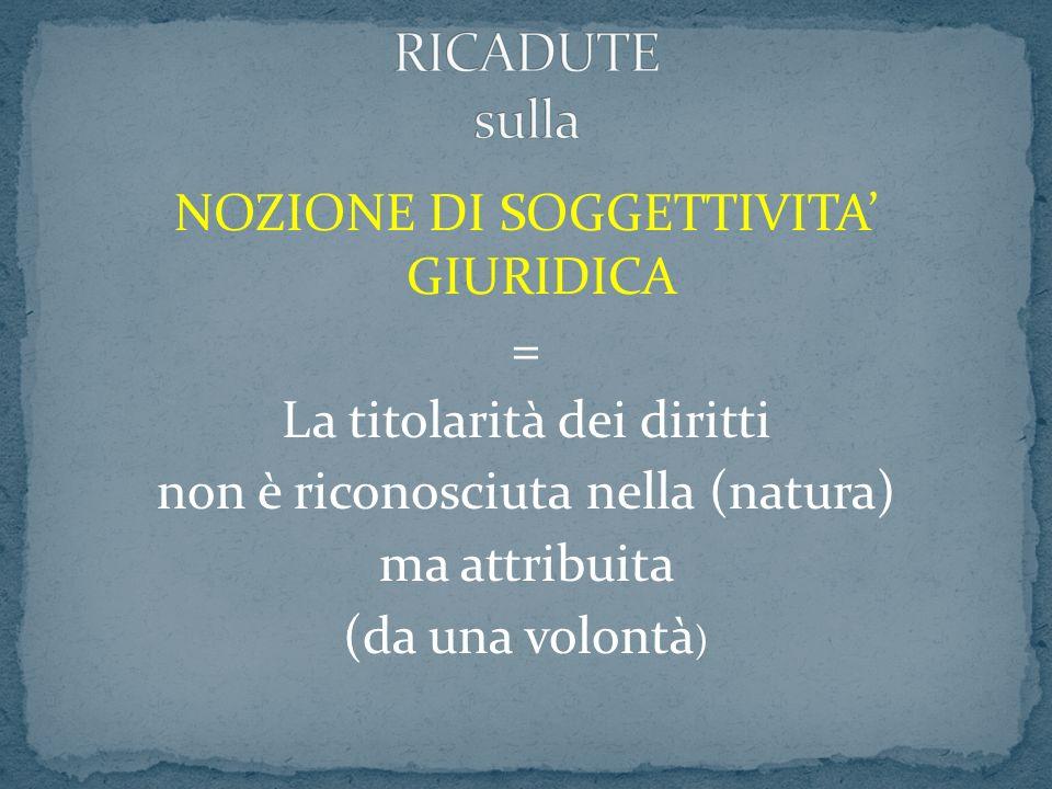 NOZIONE DI SOGGETTIVITA GIURIDICA = La titolarità dei diritti non è riconosciuta nella (natura) ma attribuita (da una volontà )