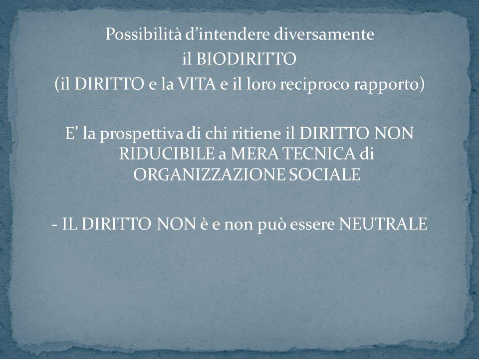 Possibilità dintendere diversamente il BIODIRITTO (il DIRITTO e la VITA e il loro reciproco rapporto) E la prospettiva di chi ritiene il DIRITTO NON R