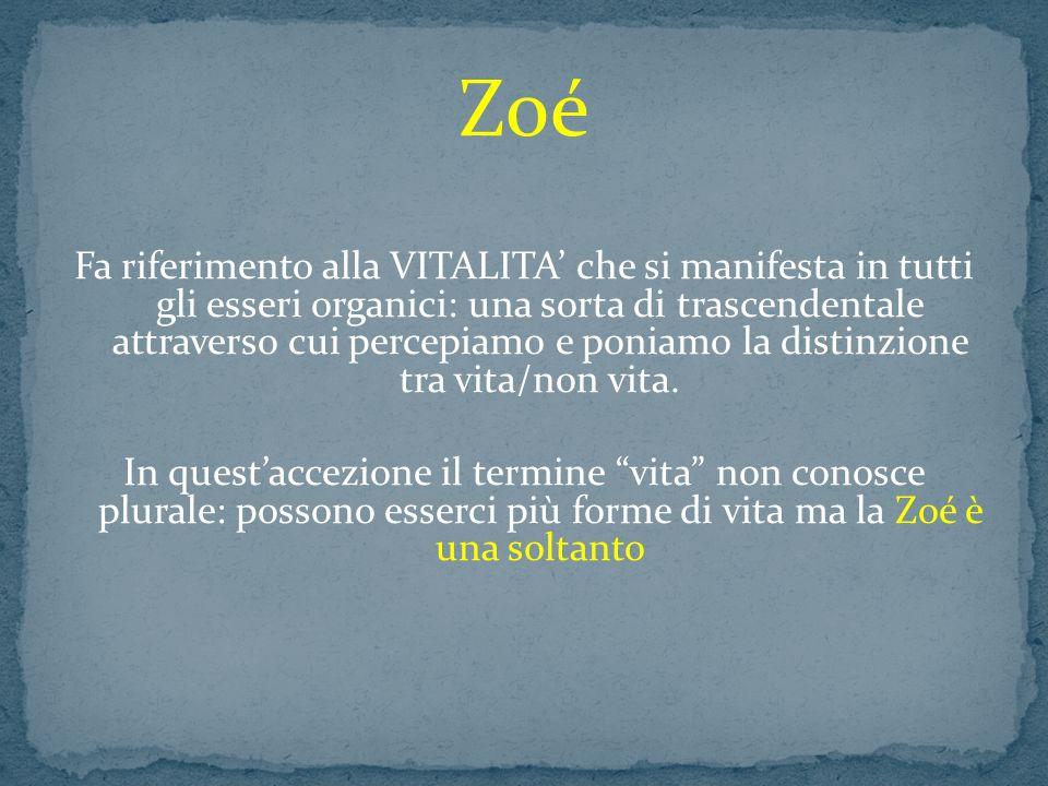 Zoé Fa riferimento alla VITALITA che si manifesta in tutti gli esseri organici: una sorta di trascendentale attraverso cui percepiamo e poniamo la dis