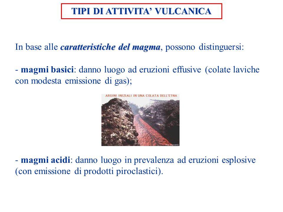 TIPI DI ATTIVITA VULCANICA caratteristiche del magma In base alle caratteristiche del magma, possono distinguersi: - magmi basici: danno luogo ad eruz