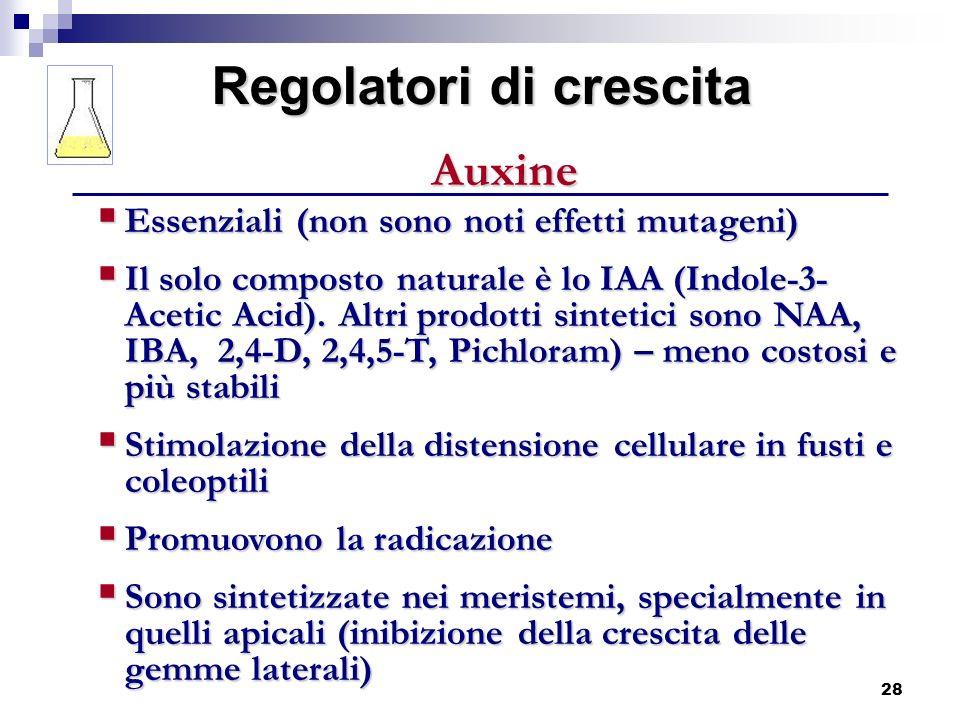 28 Regolatori di crescita Auxine Essenziali (non sono noti effetti mutageni) Essenziali (non sono noti effetti mutageni) Il solo composto naturale è l
