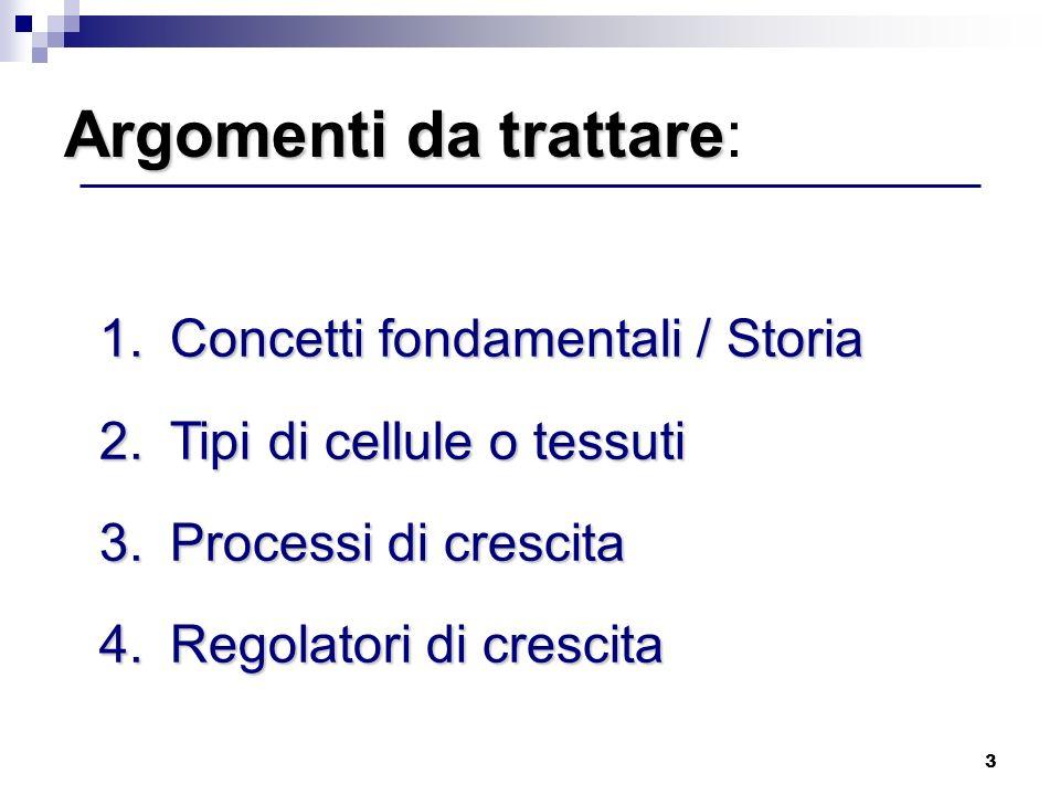 3 1.Concetti fondamentali / Storia 2.Tipi di cellule o tessuti 3.Processi di crescita 4.Regolatori di crescita Argomenti da trattare Argomenti da trat
