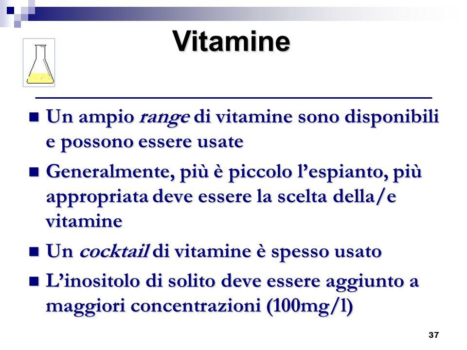 37 Un ampio range di vitamine sono disponibili e possono essere usate Un ampio range di vitamine sono disponibili e possono essere usate Generalmente,