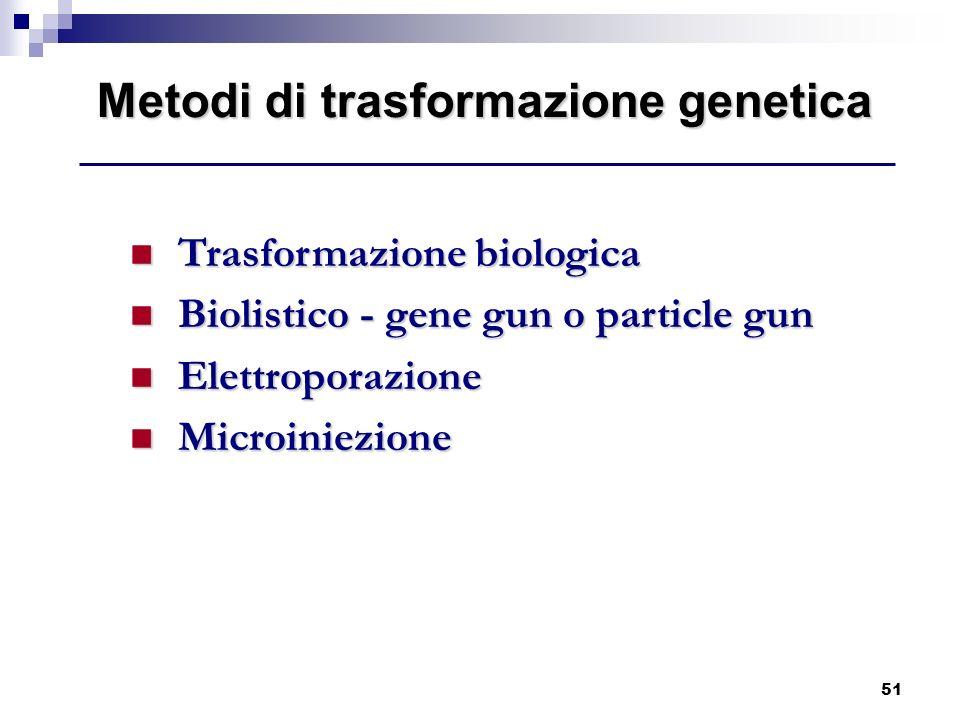 51 Metodi di trasformazione genetica Trasformazione biologica Trasformazione biologica Biolistico - gene gun o particle gun Biolistico - gene gun o pa