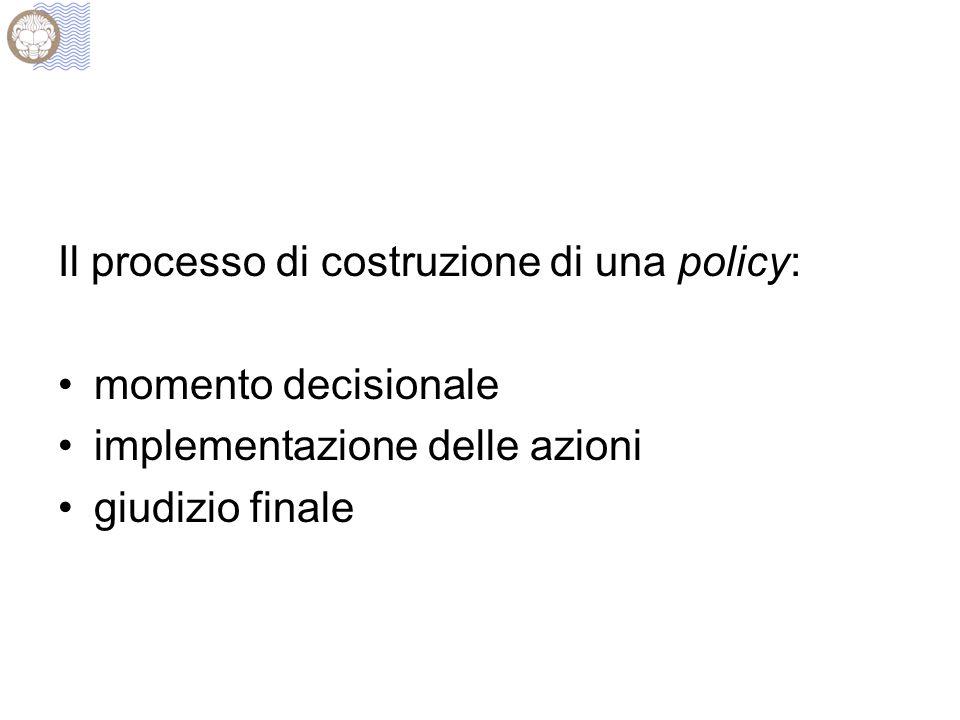Il processo di costruzione di una policy: momento decisionale implementazione delle azioni giudizio finale