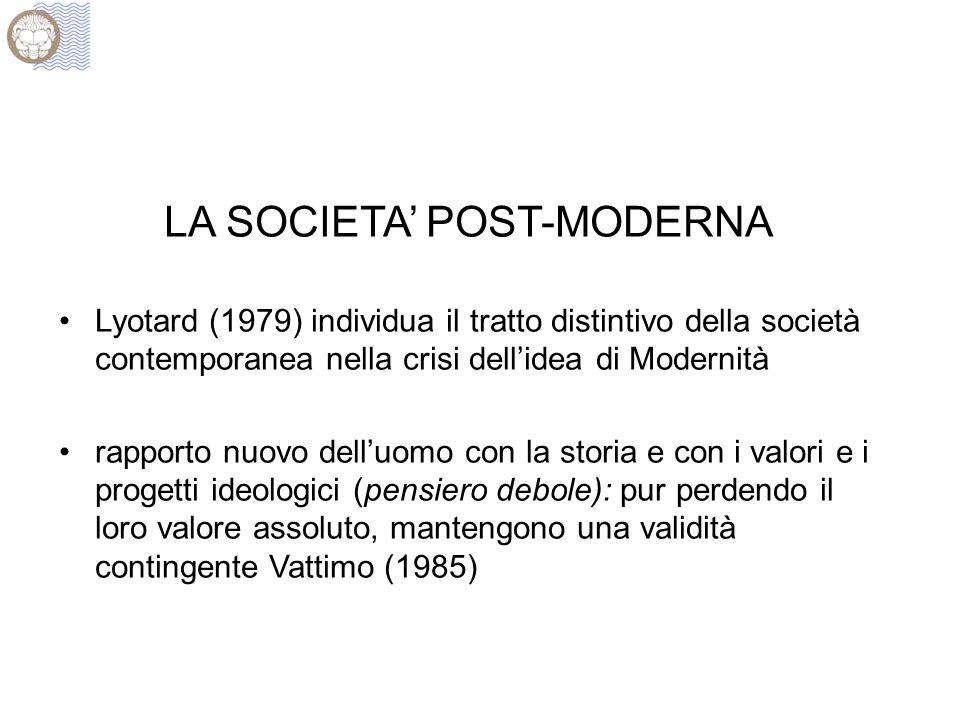 LA SOCIETA POST-MODERNA Lyotard (1979) individua il tratto distintivo della società contemporanea nella crisi dellidea di Modernità rapporto nuovo delluomo con la storia e con i valori e i progetti ideologici (pensiero debole): pur perdendo il loro valore assoluto, mantengono una validità contingente Vattimo (1985)