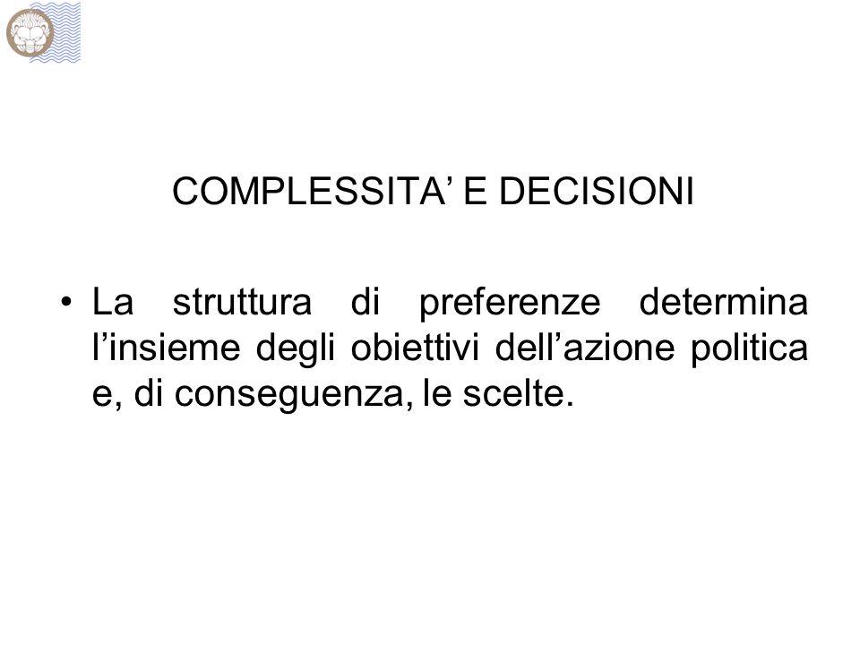 COMPLESSITA E DECISIONI La struttura di preferenze determina linsieme degli obiettivi dellazione politica e, di conseguenza, le scelte.