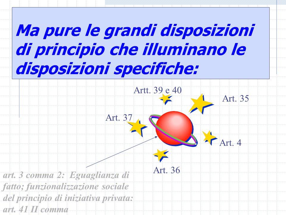 Ma pure le grandi disposizioni di principio che illuminano le disposizioni specifiche: art. 3 comma 2: Eguaglianza di fatto; funzionalizzazione social