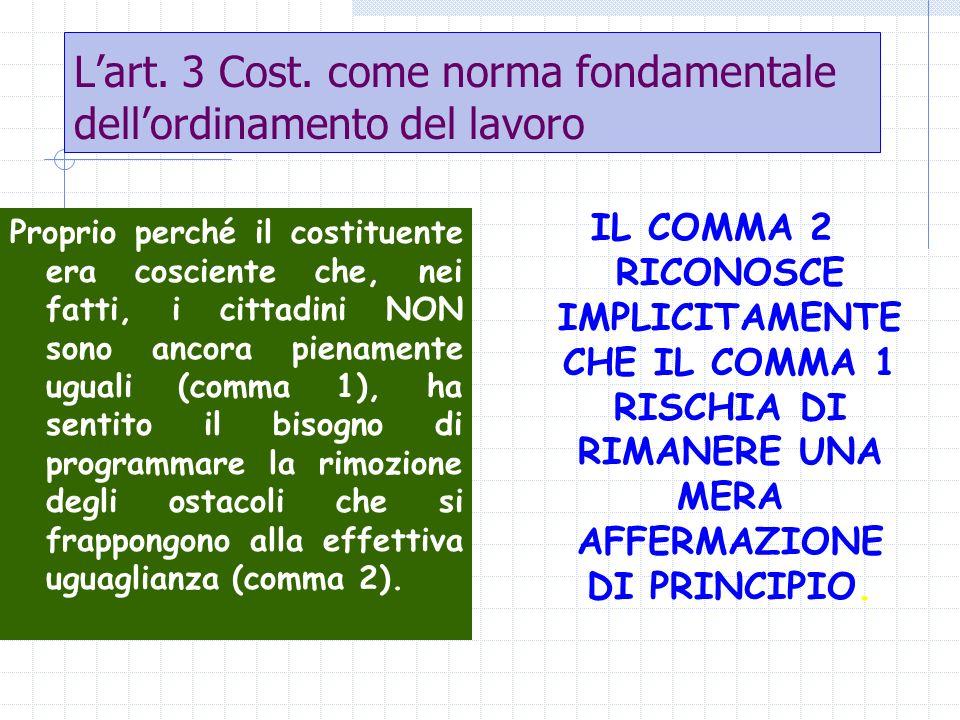 Lart. 3 Cost. come norma fondamentale dellordinamento del lavoro Proprio perché il costituente era cosciente che, nei fatti, i cittadini NON sono anco