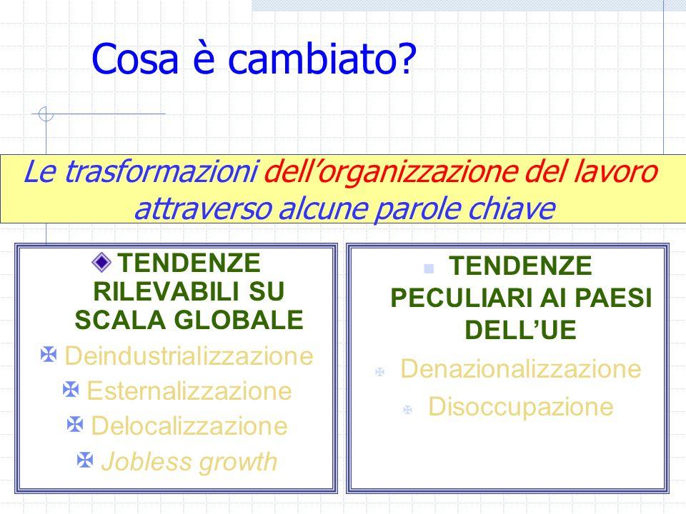 Cosa è cambiato? TENDENZE RILEVABILI SU SCALA GLOBALE Deindustrializzazione Esternalizzazione Delocalizzazione Jobless growth Le trasformazioni dellor