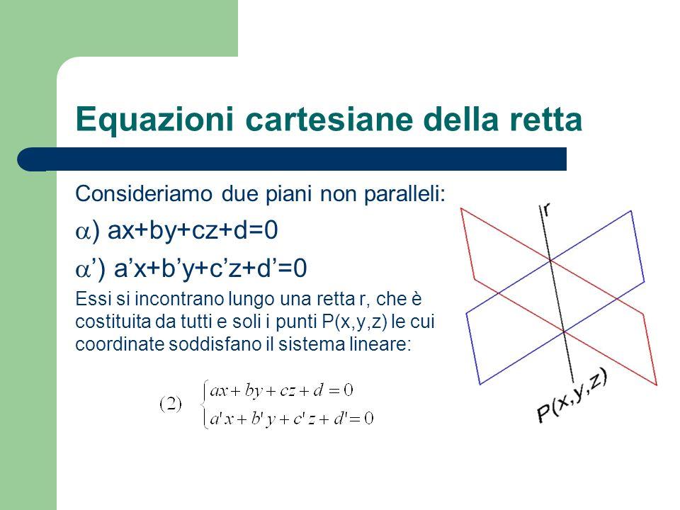 Equazioni cartesiane della retta Consideriamo due piani non paralleli: ) ax+by+cz+d=0 Essi si incontrano lungo una retta r, che è costituita da tutti