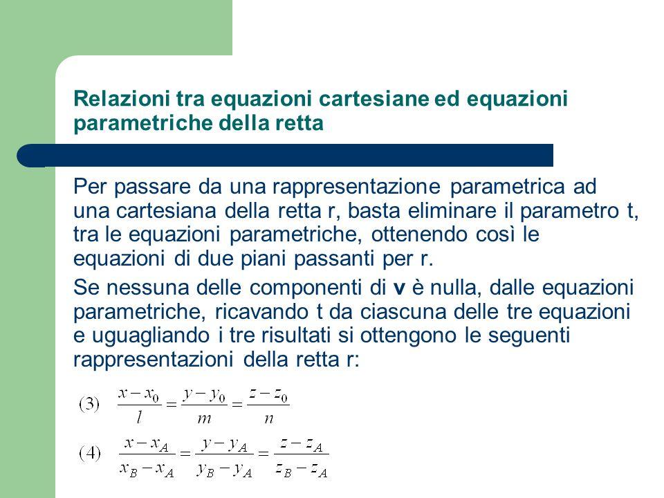 Relazioni tra equazioni cartesiane ed equazioni parametriche della retta Per passare da una rappresentazione parametrica ad una cartesiana della retta