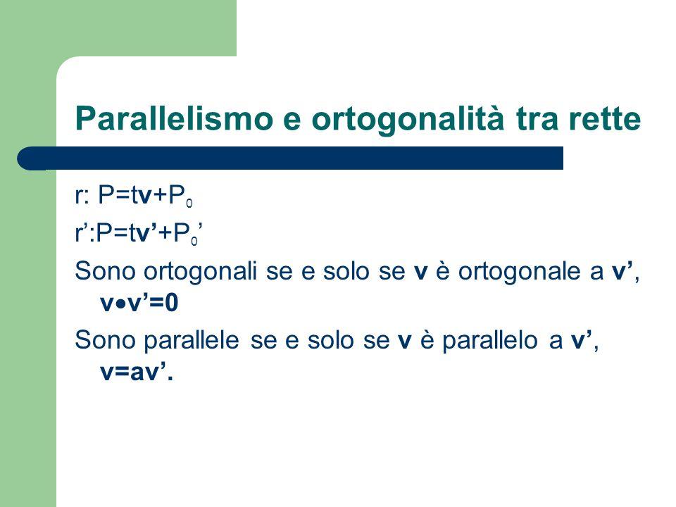 Parallelismo e ortogonalità tra rette r: P=tv+P 0 Sono ortogonali se e solo se v è ortogonale a v, v v=0 Sono parallele se e solo se v è parallelo a v