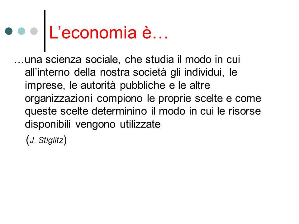 Leconomia è… …una scienza sociale, che studia il modo in cui allinterno della nostra società gli individui, le imprese, le autorità pubbliche e le alt