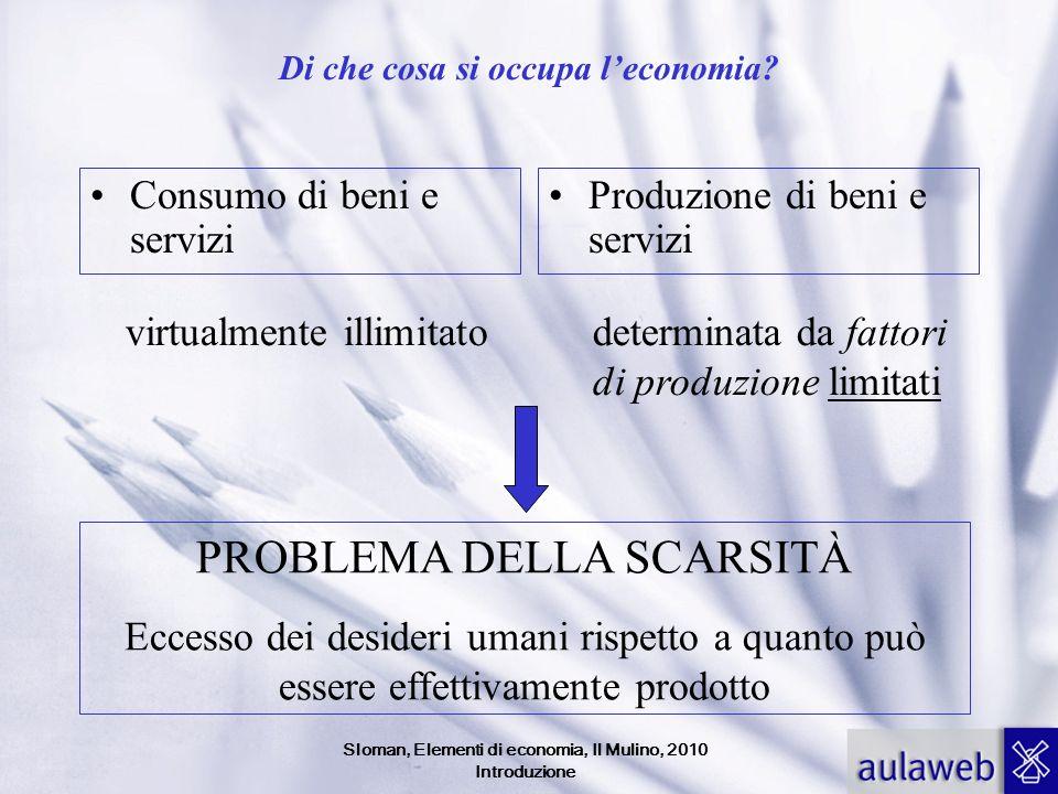 Sloman, Elementi di economia, Il Mulino, 2010 Introduzione Di che cosa si occupa leconomia? Consumo di beni e servizi Produzione di beni e servizi vir