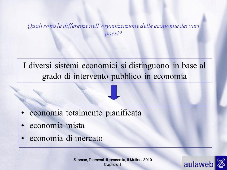 Quali sono le differenze nellorganizzazione delle economie dei vari paesi? economia totalmente pianificata economia mista economia di mercato I divers