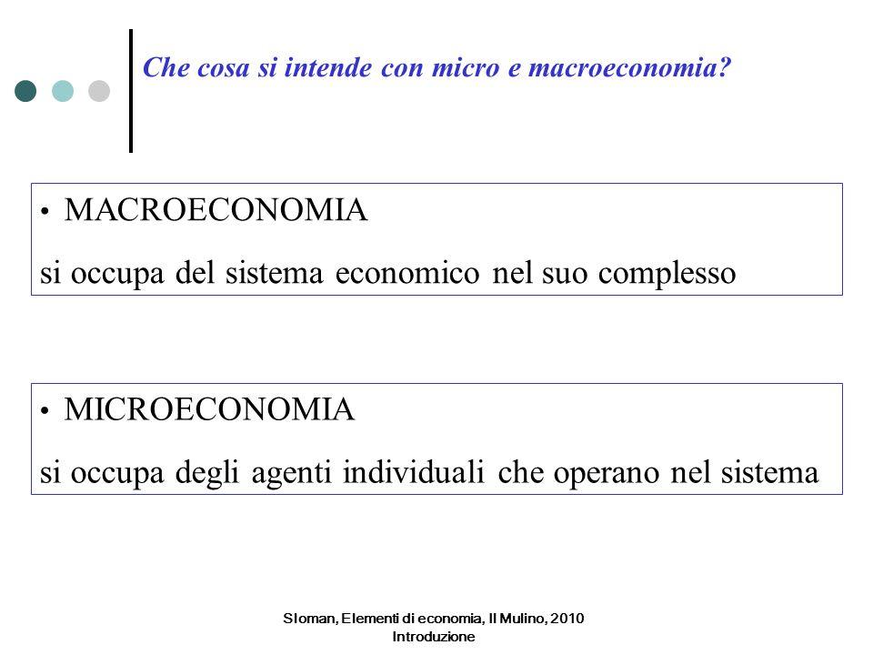 Sloman, Elementi di economia, Il Mulino, 2010 Introduzione Che cosa si intende con micro e macroeconomia? MACROECONOMIA si occupa del sistema economic