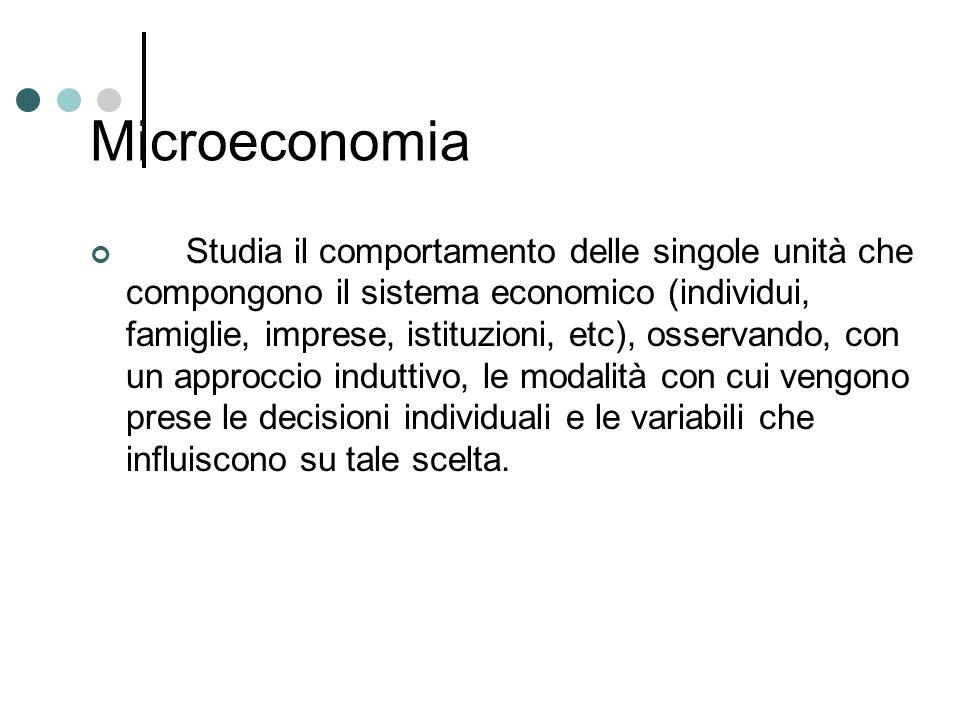 Microeconomia Studia il comportamento delle singole unità che compongono il sistema economico (individui, famiglie, imprese, istituzioni, etc), osserv