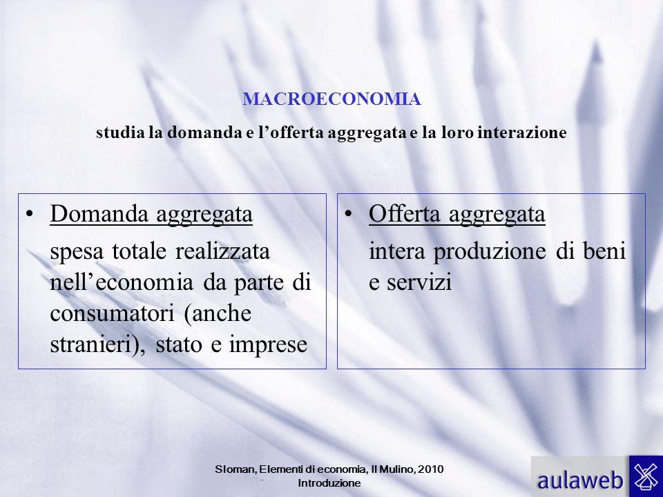 Sloman, Elementi di economia, Il Mulino, 2010 Introduzione MACROECONOMIA studia la domanda e lofferta aggregata e la loro interazione Domanda aggregat