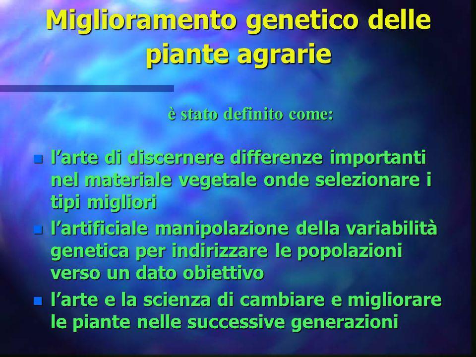 Miglioramento genetico delle piante agrarie n larte di discernere differenze importanti nel materiale vegetale onde selezionare i tipi migliori n lart