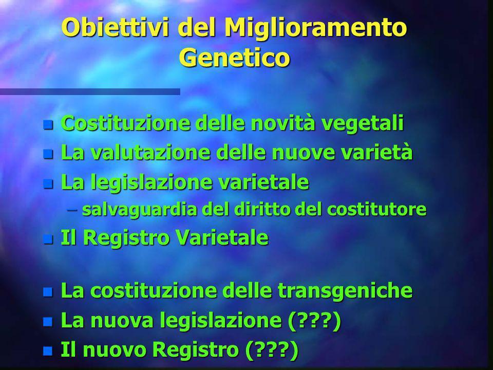 Obiettivi del Miglioramento Genetico n Costituzione delle novità vegetali n La valutazione delle nuove varietà n La legislazione varietale –salvaguard