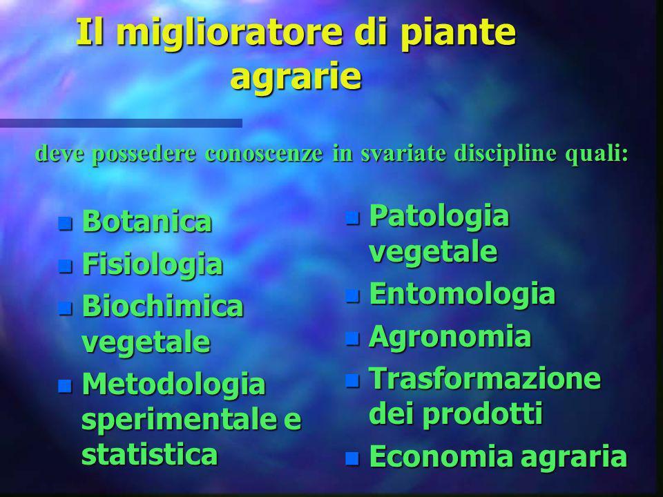 Il miglioratore di piante agrarie n Botanica n Fisiologia n Biochimica vegetale n Metodologia sperimentale e statistica n Patologia vegetale n Entomol