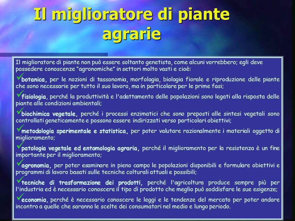 Il miglioratore di piante non può essere soltanto genetista, come alcuni vorrebbero; egli deve possedere conoscenze agronomiche in settori molto vasti