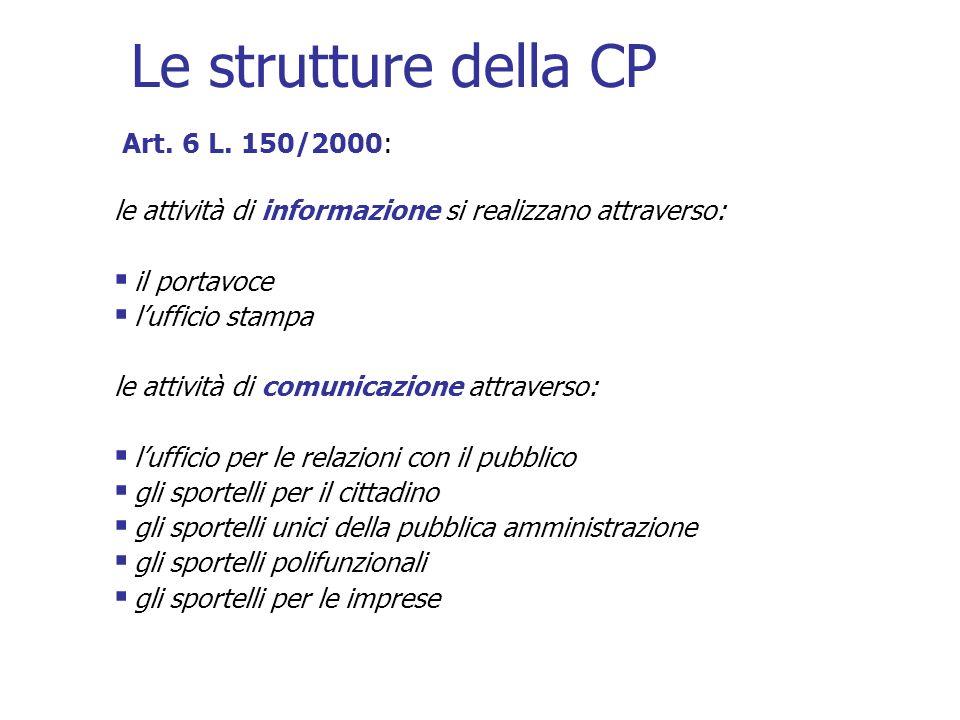 Le strutture della CP Art. 6 L. 150/2000: le attività di informazione si realizzano attraverso: il portavoce lufficio stampa le attività di comunicazi