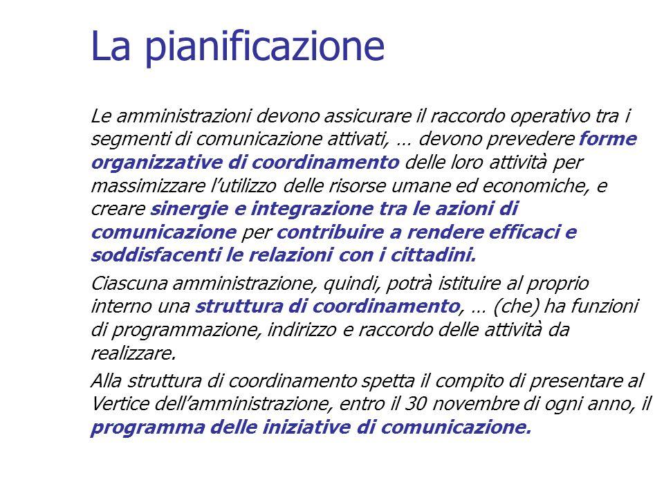 La pianificazione Le amministrazioni devono assicurare il raccordo operativo tra i segmenti di comunicazione attivati, … devono prevedere forme organi