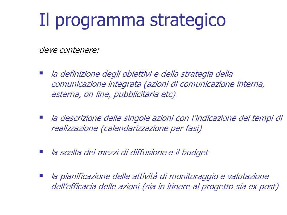 Il programma strategico deve contenere: la definizione degli obiettivi e della strategia della comunicazione integrata (azioni di comunicazione intern