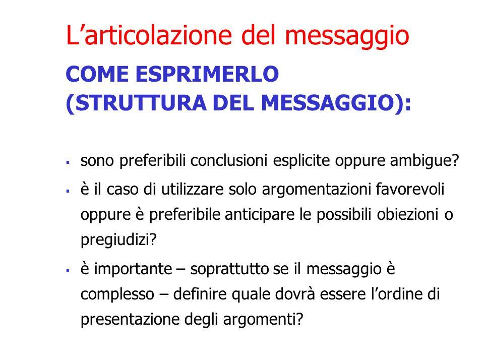 Larticolazione del messaggio COME ESPRIMERLO (STRUTTURA DEL MESSAGGIO): sono preferibili conclusioni esplicite oppure ambigue? è il caso di utilizzare