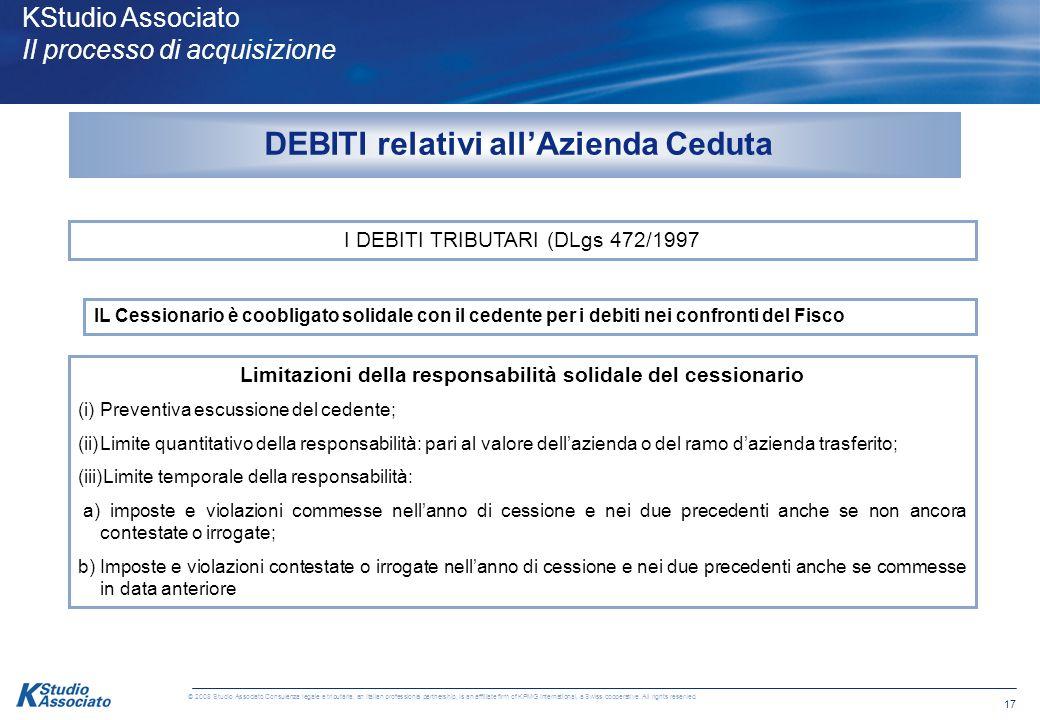 16 © 2008 Studio Associato Consulenza legale e tributaria, an Italian professional partnership, is an affiliate firm of KPMG International, a Swiss co