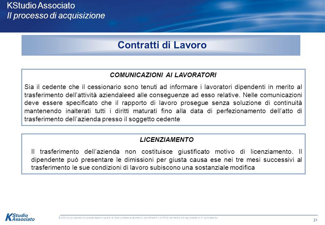 20 © 2008 Studio Associato Consulenza legale e tributaria, an Italian professional partnership, is an affiliate firm of KPMG International, a Swiss co