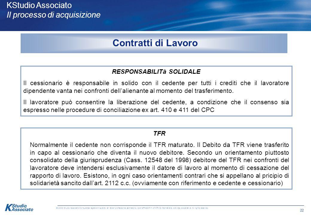 21 © 2008 Studio Associato Consulenza legale e tributaria, an Italian professional partnership, is an affiliate firm of KPMG International, a Swiss co