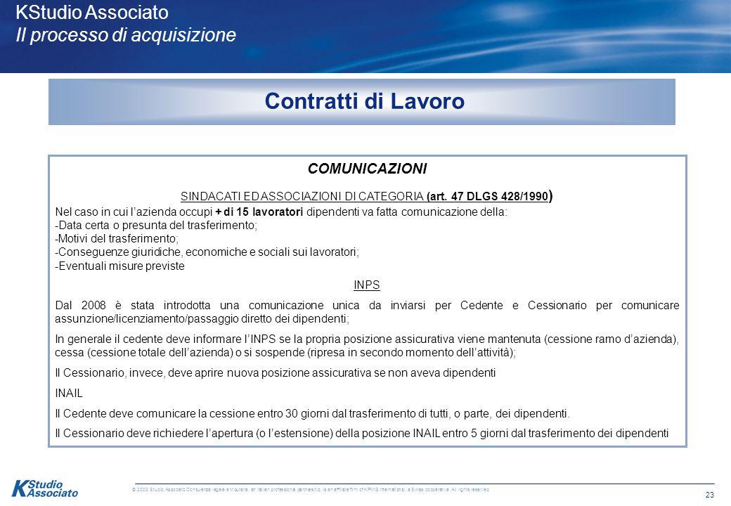 22 © 2008 Studio Associato Consulenza legale e tributaria, an Italian professional partnership, is an affiliate firm of KPMG International, a Swiss co