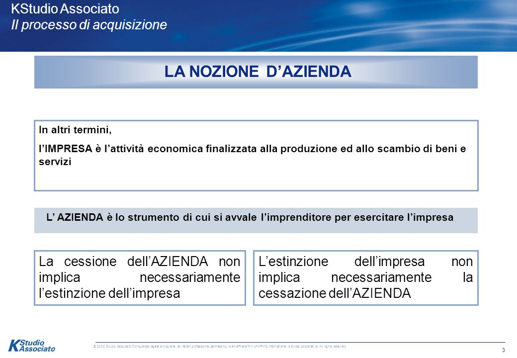 3 © 2008 Studio Associato Consulenza legale e tributaria, an Italian professional partnership, is an affiliate firm of KPMG International, a Swiss cooperative.