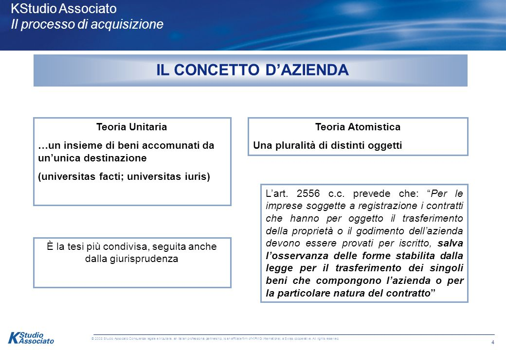 3 © 2008 Studio Associato Consulenza legale e tributaria, an Italian professional partnership, is an affiliate firm of KPMG International, a Swiss coo