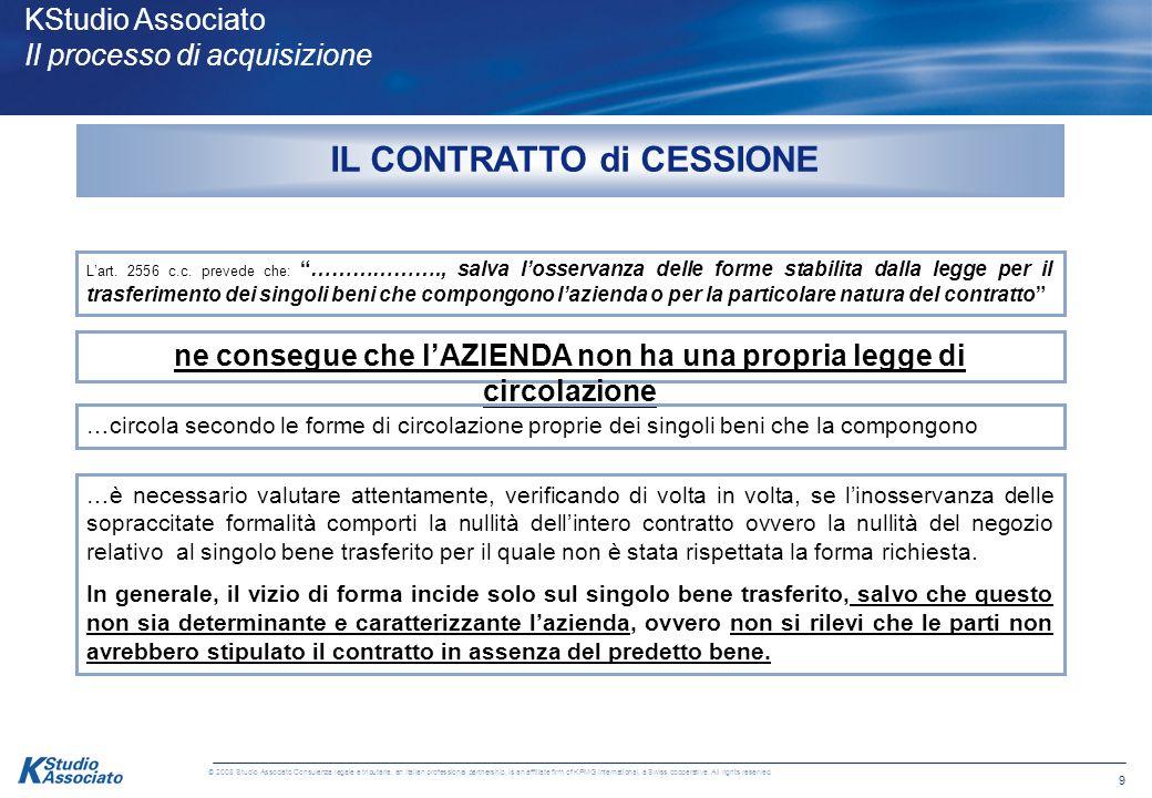 8 © 2008 Studio Associato Consulenza legale e tributaria, an Italian professional partnership, is an affiliate firm of KPMG International, a Swiss coo