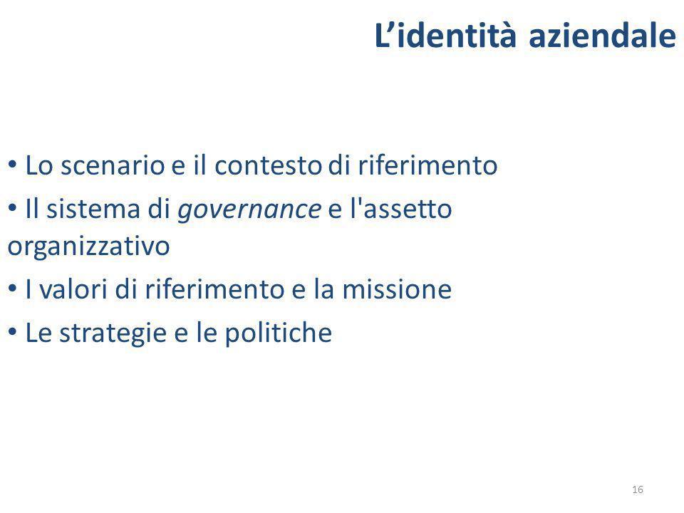 16 Lidentità aziendale Lo scenario e il contesto di riferimento Il sistema di governance e l assetto organizzativo I valori di riferimento e la missione Le strategie e le politiche